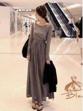 Korean Fashion Women Round Neck Long Sleeve Dress