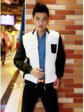New Stylish Man Color Block Zipper Coat