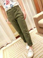 New Arrival Pure Color Zipper Pockets Casual Pants