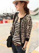 Popular Leopard Leather Patched Short Coat