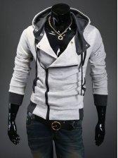 New Winter Style Inclined Zipper Slim Hoodies
