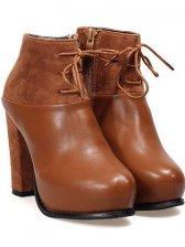 Autumn Style Side Zipper High Heel Short Boots