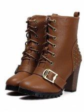 New Fashion Belt Buckle Rivet Straps Short Boots