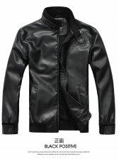 Korea Fashion Men Zip up Leather Jacket Coat