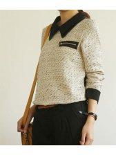 Korean Fashion Zipper Design Double Doll Collar Casual Blouse