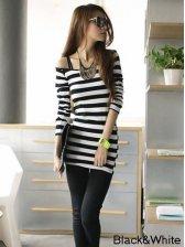 Sexy Fashion Boat Neck Striped Long Sleeve T-shirt
