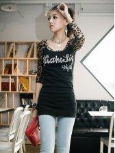 Sexy Lady Leopard Splice Slim Fit Casual T-shirt