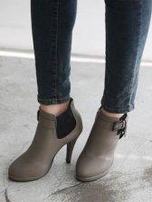 European Style Belt Buckle High Heel Short Boots