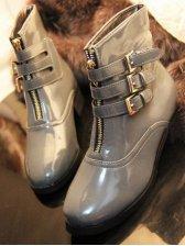 European Style Belt Buckle Zipper Design Short Boots