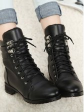 New UK Style Round Toe Solid Color Short Boots