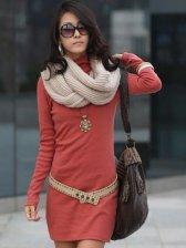 New Arrival Korean Autumn Polo Collar Pure Color Slim Dress