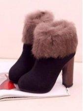 European Fashion Side Zipper Lapin Design Chunky Heel Boots