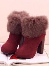 Hot Sale Side Zipper Lapin Design Chunky Heel Boots