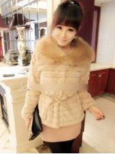 Korean Style Turn Collar With Belt Slim Short Coat