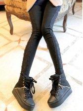 Lady Winter Warm Solid Color Skinny Leggings