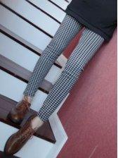 Autumn Style Black And White Plaid Slim Leggings