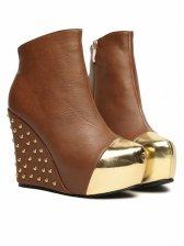Stylish Lady Back Rivet Side Zipper Platforms Boots