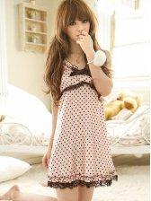 New Sweet Polka Dots Bowknot Straps Pajamas Dress