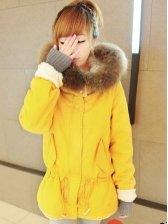 Women Fashion Drawstring Hooded Short Coat