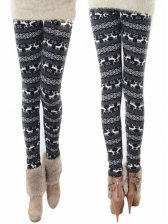 Winter Warm Lady Deer Pattern Thickened Slim Leggings