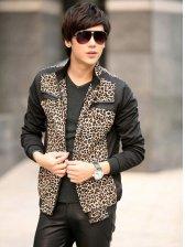 New Arrival Leopard Zipper Design Slim Jacket