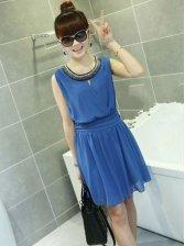 Hot Fashion Summer Beaded Neck Tank Mini Dress