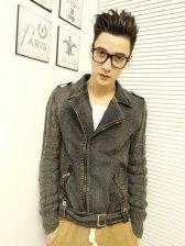 Cool Fashion Side Zipper With Belt Slim Denim Jacket