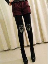 Fashion Arrival Skull Patch Slim Stretchable Leggings