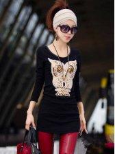 Cute Solid Owl Pattern Hip-length Long Sleeve T-shirt