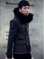 Winter Vogue Men Casual Duffle Coat,Short Coat