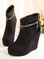 European Style Zipper Design Wedge Short Boots