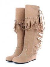 Cute Girls Rivet Tasseled Flat Knee-high Boots