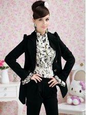 Elegant Fashion Turn Collar Golden Single Breasted Black Coat