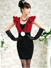 Sweet Fashion Low V Neck Flounces Natural Waist Sleeveless Dress