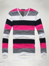 Modern Men Color Block Stripes V-neck Slim Tee