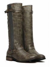 New Winter Low Heel Side Buckle Knee-high Boots