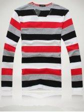 Modern Men Casual Stripes V-neck Slim Tee
