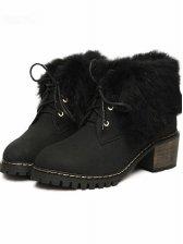 New UK Style Rabbit Fur Chunky Heel Short Boots