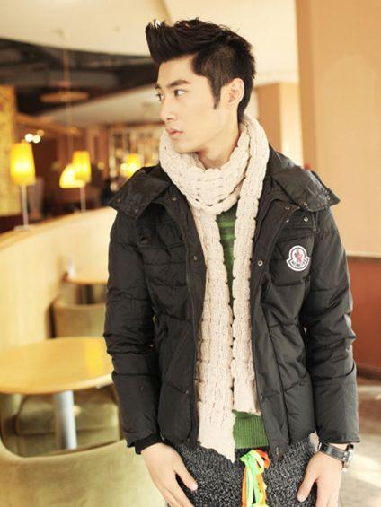 Korea Winter Style Men Zipper Hooded Black Short Coat