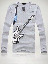 Brand New Men Guitar Pattern V Neck Gray Tee