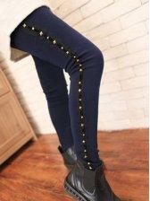 Versatile Style Pure Color Side Rivets Velour Lace Leggings