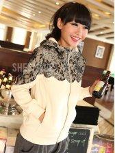 Winter Lady Warm Lace Zipper Hooded Coat