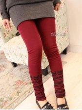 Winter Warm Printing Pure Color Velour Slim Leggings