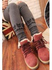 Lovely Girls Pure Color Printing Slim Leggings