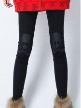 Winter Warm Skulls Velour Slim Leggings In Black
