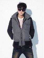 Vogued Men One-pocket Zip up Warm Vest Coat