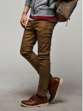 Modern Winter Men Slim Solid Color Long Pants