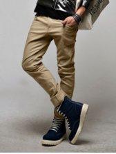 Winter Fashion Men Slim Beige Casual Long Pants