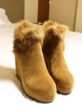 Retro Fashion Round Toe Wedge Brown Short Boots