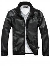 Winter Men Stand Collar Zip up PU Black Jacket Coat